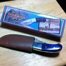 """Frost Valley Forge Thumb Knife Blue Bone 5 1/4"""" Knife wLeather Sheath  VF001BLPB"""