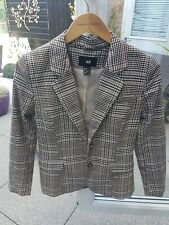 BNWOT H&M LADIES SIZE 8 FULLY LINED BLACK/BROWN TWEED HERRINGBONE BLAZER/JACKET