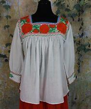 Orange & Green, White Hand Embroidery Blouse Mayan Chiapas Mexico Peasant Hippie