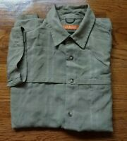 EDDIE BAUER PERFORMANCE Mens Olive Green Short Sleeve Fishing Button Up Shirt Sm