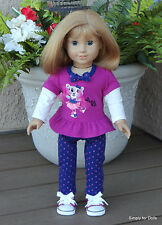 """3pc 18"""" AMERICAN GIRL Doll Clothes SET CHEERLEADER Blue PANTS Pink TOP & SHOES"""