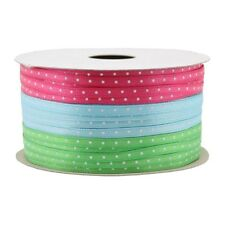 New Holiday Christmas Gift Wrap Spritz Fabric Ribbon-3 End X 36 Ft Brights W/Dot