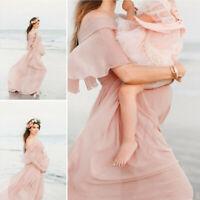 Women Pregnants Maternity Photography Props Short Sleeve Ruffles Solid Dress