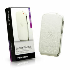 Genuine BlackBerry Q10 White Leather Flip Shell Case Pouch Cover ACC-50707-202