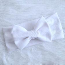 Girls Kids Baby Cotton Bow Hairband Headband Stretch Turban Knot Head Wrap AU White