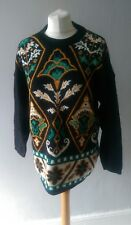VINTAGE RETRO 80'S WOMENS STUNNING UNIQUE PATTERNED TUNIC JUMPER TOP SIZE 14 16