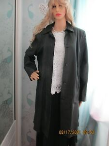 women marks and spencer soft leather 3/4 coat black size 14