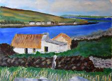 Bauernhaus in Irland Landschaft Acrylbild auf Papier Wandbild Bild Signiert