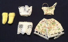 Fashion Doll Lingerie Barbie Clothes Set Yellow Slippers Pajama Dollhouse Outfit