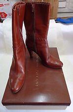 ANTONIO MELANI New Rust All Leather Fashion Boots Sz 9 M US Used FREE SHIPPING!!
