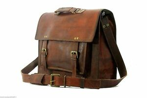 "16"" Men's Genuine Vintage Leather Messenger Laptop Briefcase Satchel  Brown"