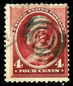 """Sc #215 """"Target"""" Fancy Cancel 4 Cent Jackson 1888 Banknote US 68D17"""