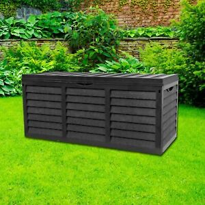 Black 320L Plastic Storage Box Garden Outdoor Shed Utility Cushion Chest Truck