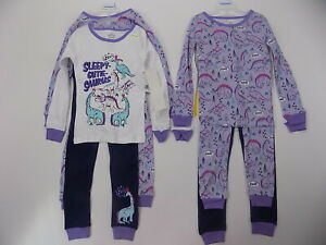 4 piece infant girls pajama set mix-n-match Purple Dinosaur size 4T
