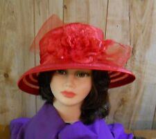 Ladies Red Satin Covered Straw Hat w/Horsehair Bow & Large Flower (One Size)