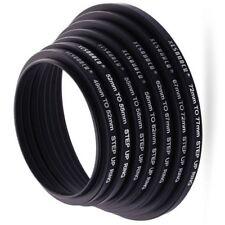 8pcs 49-52-55-58-62-67-72-77-82mm Step Up Rings Lens Adapter Filter Set Black