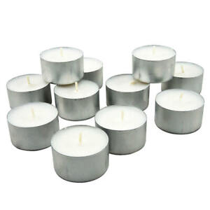 32 Pack White Round Deep Unscented 8 Hour Long Burn Tealight Tea T Light Candles