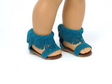 "Teal Fringe Sandals Fits 18"" American Girl Doll Clothes Shoes"
