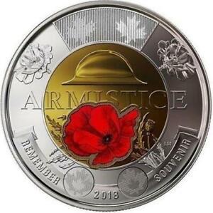 CANADA 2018 🌸 ARMISTICE COLORED POPPY 🌸🌸 2 Dollar Coin (TOONIE) ~BU from roll