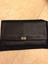 Authentic Chanel Chevron Boy Black Leather Fold Over Clutch Handbag.