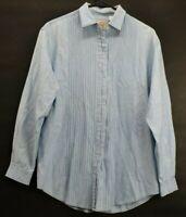 G.H. Bass & Co. Women's Small Long Sleeve 100% Cotton Denim Button Up Shirt Blue