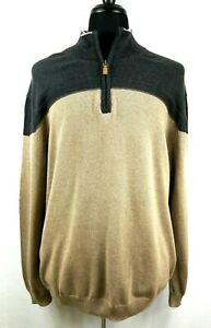 Roundtree & Yorke Mens Pull Over Sweater XL NWT 1/4 Zip Long Sleeve Brown Gray