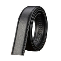 Luxury Men's Leather Automatic Ribbon Waist Strap Belt Without Buckle Black W2R2
