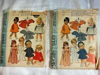 Vintage Lot of 2 1968 Wardrobe for Chubby Baby and Toddlers dolls patterns 9449