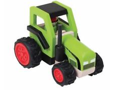 Holzspielzeug Goki Traktor mit Anhänger Grün Holz Trecker Ostergeschenk Schiebefahrzeug Bauernhof