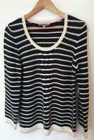 Ladies Crew Clothing Co Size 14 Jumper Blue White Stripe <SW3086