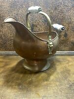 Vintage Copper Coal Scuttle Bucket w Delft Porcelain Handle ~ Fireplace Hearth