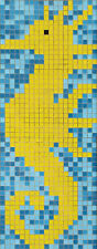 Glasmosaik Bild Seepferdchen papierverklebt 110 x43 cm Pool Schwimmbad |MB-K33P