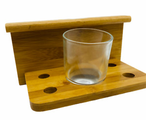 Bamboo Light Wood Bathroom Kitchen Frosted Toothbrush Slot Tumbler and Holder