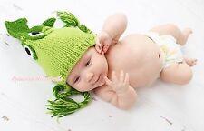 Newborn Baby Dark Light Green Sea Fish Crochet Photo Prop Hat Costume NB-6Month