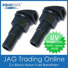 "2 x BLACK NYLON STRAIGHT FUEL BREATHER VENTS 16mm 5/8"" - Boat/Car/RV/Petrol Tank"