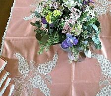 """PINK W/WHITE HAND EMBROIDERY & CROCHET*33X34""""TABLECLOTH+4 NAPKINS*APPEARS UNUSED"""