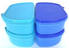 Tupperware Fridge Half Stackables Container Set Of 4 Aqua Blue New