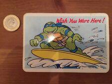 """Vintage 1990 """"Teenage Mutant Hero Turtles"""" RARE Sticker Postcard """"Surfing"""""""
