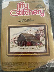 jiffy stitchery #780  Spring Barn sunset designs crewel embroidery kit 1975 new