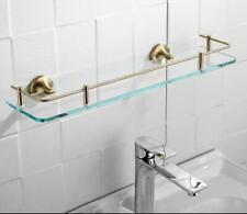 Wall Mounted Shower Caddy Rectangle Bathroom Brushed Gold Glass Cosmetic Shelf
