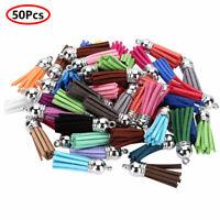50Pcs Leather Tassel Faux Suede Keychain Keyring Bag Charm Pendant 35mm w/Caps