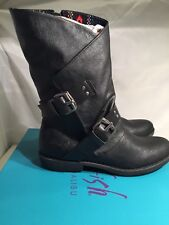Blowfish Amanda Mid Calf Boots Black Faux Leather UK 3 / EU 36 RRP £100