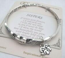 """Sisters are Like Flowers"" Bangle 2 Angels Sister Charm Bracelet & Prayer Card"
