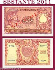 ITALIA ITALY 100 LIRE ITALIA ELMATA DI CRISTINA SPECIMEN 1951 R5,  P 92b FDS/UNC