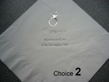 100 Personalised Engagement Napkins, your choice of Napkin and Print colour