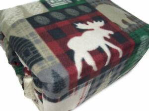 Home Collection Ashley Cooper Fleece Moose Trail Lodge Plaid King Sheet Set New
