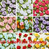 100Pcs Mini Satin Ribbon Rose Flower Leaf Bow Wedding Applique Sewing