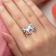 Lovely Cartoon Fairy Tale Unicorn Enamel Women Finger Ring Jewelry Innovation