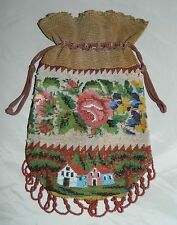 Antique 1852 Glass Micro Beaded Reticule Pouch Purse Floral House Design Dated