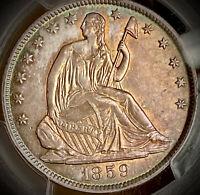 1859 o seated liberty half dollar pcgs ms62